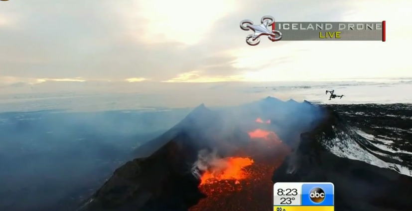 Drone Flew Over an Active Volcano in Iceland